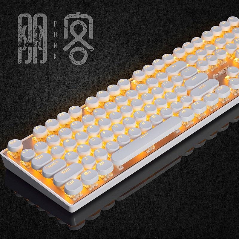 黑爵AK33i蒸汽朋克游戏机械键盘青轴黑轴108键背光吃鸡机械键盘